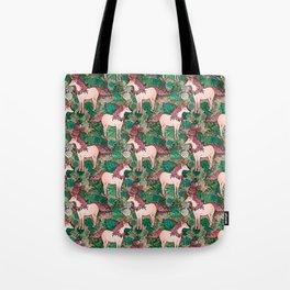 Rose Gold Unicorns in a Garden Tote Bag