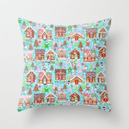 gingerbread Christmas Village Throw Pillow