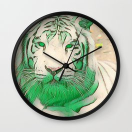 Green Tiger Wall Clock