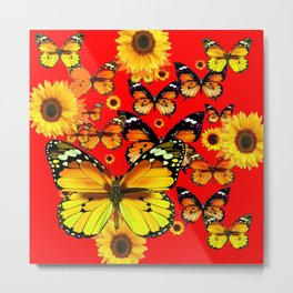 CHINESE RED YELLOW SUNFLOWERS &  BUTTERFLIES ART Metal Print