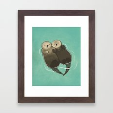 Significant Otters - Otters Holding Hands Framed Art Print