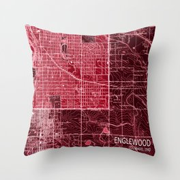 Englewood vintag old map, year 1940 Throw Pillow
