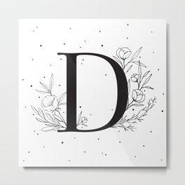 Black Letter D Monogram / Initial Botanical Illustration Metal Print
