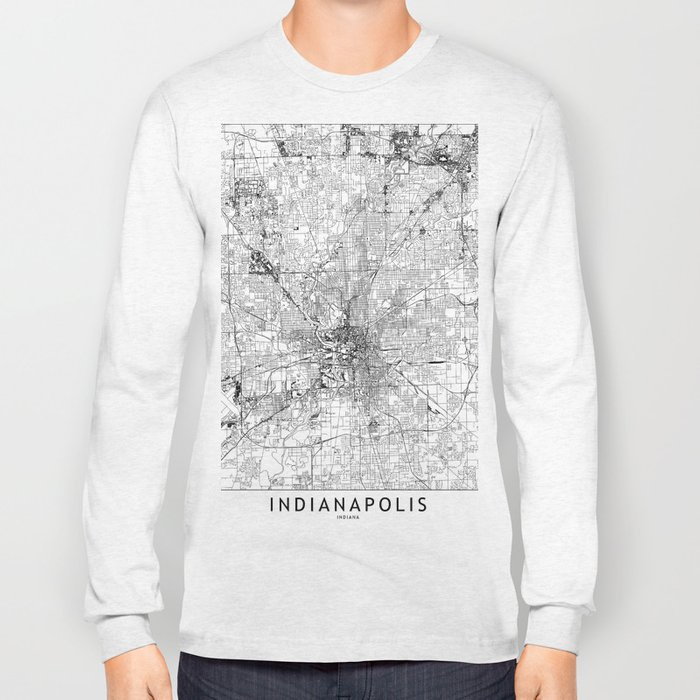 Indianapolis White Map Long Sleeve T-shirt