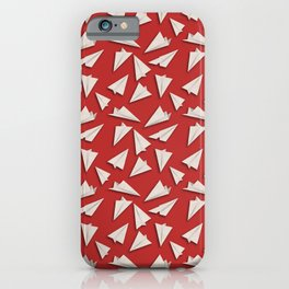 Paper Planes Pattern | White Red iPhone Case