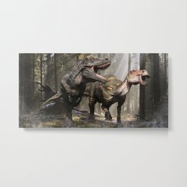 Tyrannosaurus hunting edmontosaurus Metal Print