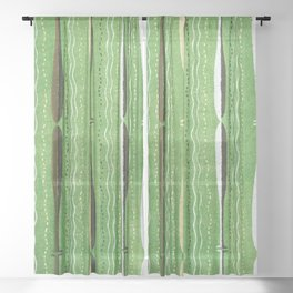 Vintage Japanese Woodblock Textile Pattern Sheer Curtain