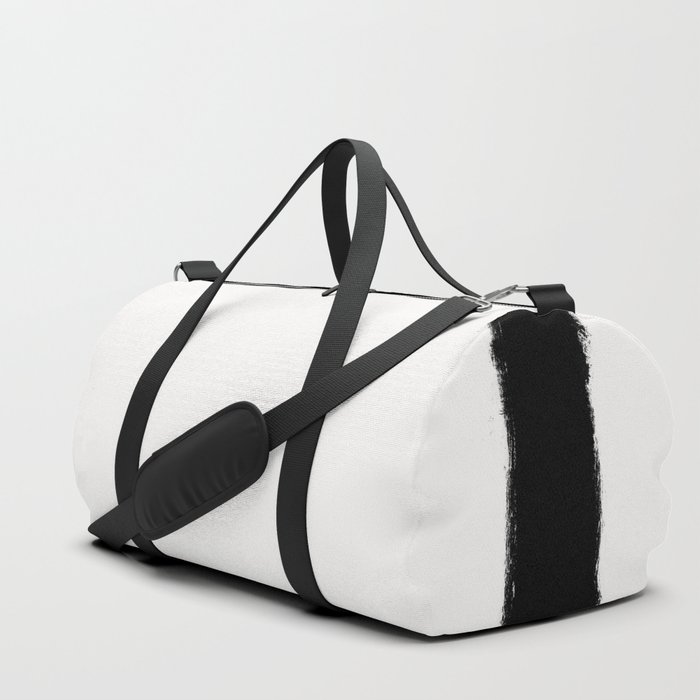 Square Strokes Black on White Duffle Bag