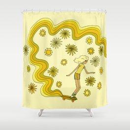 groovy skate hang 10 // tony alva style // surfy birdy art Shower Curtain