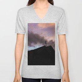 shilouette with orange sky Unisex V-Neck