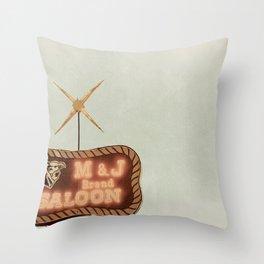 Retro Saloon Sign Throw Pillow