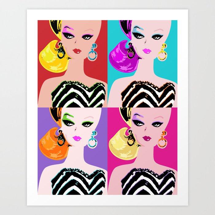 pop art barbie art print by gigglebox society6