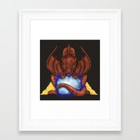 smaug Framed Art Prints featuring Smaug by YattaGiulia