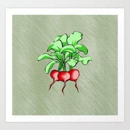 Healthy Radishes On Green Background Art Print