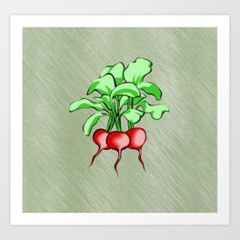 Healthy Radishes On Green Background Art Print