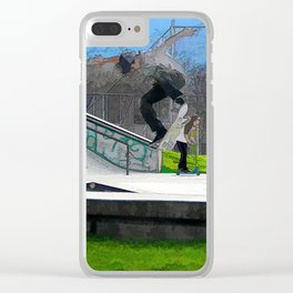 Skateboarding Fool Clear iPhone Case