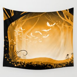 Dark Forest at Dawn in Amber Wall Tapestry