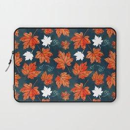 Autumn leaves against dark blue Laptop Sleeve