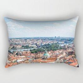Prague Cityscape | Red Rooftop Old World Bridge Majestic European City Landscape Photograph Rectangular Pillow