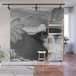 Abstract Flowers. Black and White. Flowers. Mountains. Landscape Wall Mural