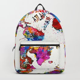 world map color splatter 1 Backpack