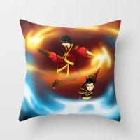 zuko Throw Pillows featuring Firebenders by Haruhana Hibana