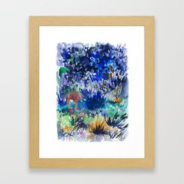 Watercolor wetland landscape Framed Art Print