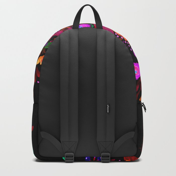 Watercolor colorful flower pattern on a black background . Backpack