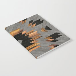 Urban Tribal Pattern No.6 - Aztec - Concrete and Wood Notebook