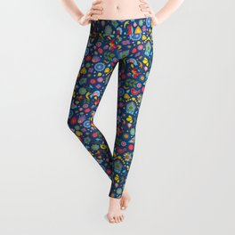 Swedish Folk Art Garden Leggings