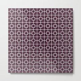 Eggplant Purple Square Chain Pattern Metal Print