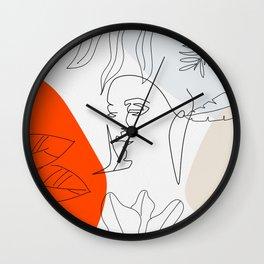 Abstract Portrait Line Art Wall Clock