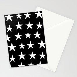 Star Pattern White On Black Stationery Cards