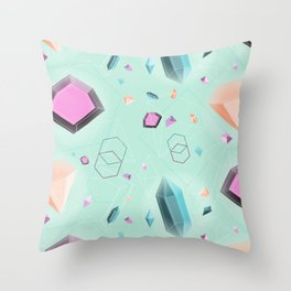 Fragmented Crystals Throw Pillow