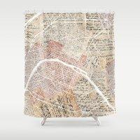 paris map Shower Curtains featuring Paris map by Mapsland