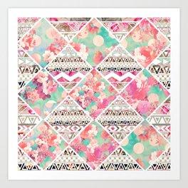 Aztec Floral  Diamond Art Print