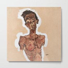 """Egon Schiele """"Nude Self-Portrait"""" Metal Print"""