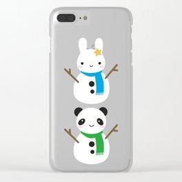 Snow Bunny & Snow Panda Clear iPhone Case