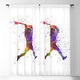 Cricket player batsman silhouette 09 Blackout Curtain