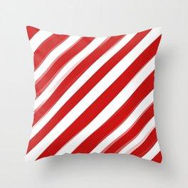 Red Stripes Throw Pillow