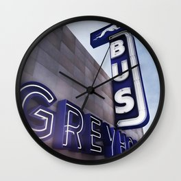 GREYHOUND BUS STATION COLOR Wall Clock
