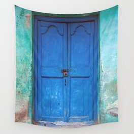 Blue Indian Door Wall Tapestry