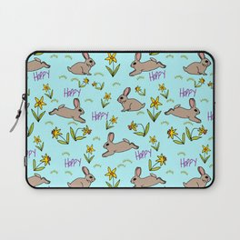 Hoppy Happy Sweet Spring Bunny Floral Design Laptop Sleeve