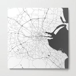 White on Grey Dublin Street Map Metal Print