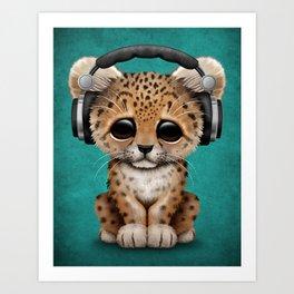 Cute Leopard Cub Dj Wearing Headphones on Blue Art Print