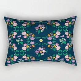 Floral garden Repeat Pattern Illustrated Print Rectangular Pillow