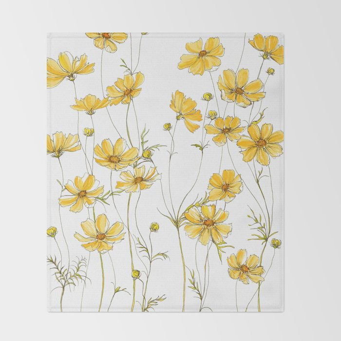 Yellow Cosmos Flowers Throw Blanket