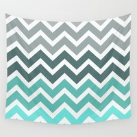 chevron Wall Tapestries featuring Tiffany Fade Chevron Pattern by RexLambo