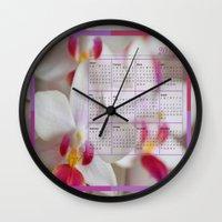 calendar Wall Clocks featuring Calendar 2015 Orchids by Lena Photo Art