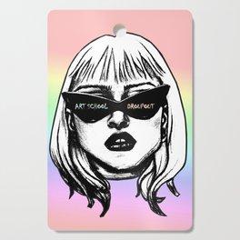 Art School Dropout Punk Girl in Sunglasses Pastel Background Cutting Board